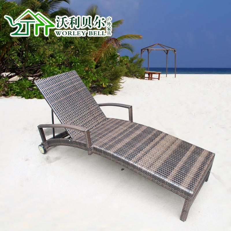 ... Outdoor Single Balcony Rattan Lying Bed Lying Bed Pool Beach Bed Rattan  Outdoor Furniture Outdoor Furniture