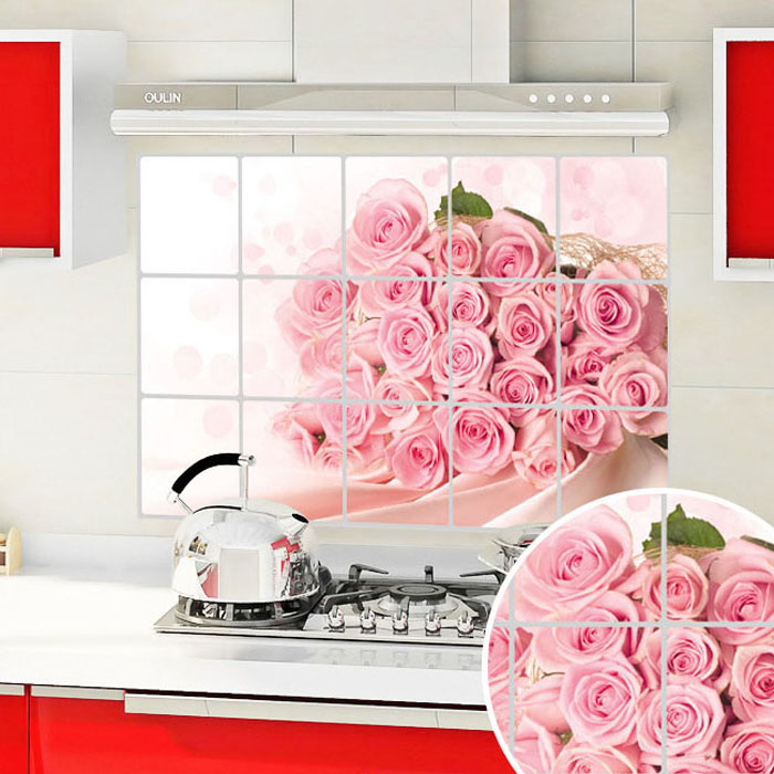 Oxfam america removable wall stickers/kitchen oil stickers roses/proof high temperature aluminum foil stickers wall sticker wallpaper
