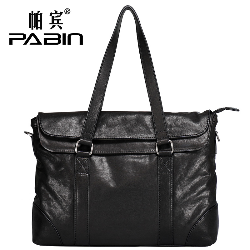 Pabin men influx of british business man bag leather handbag cross section header layer of leather computer bag soft leather briefcase