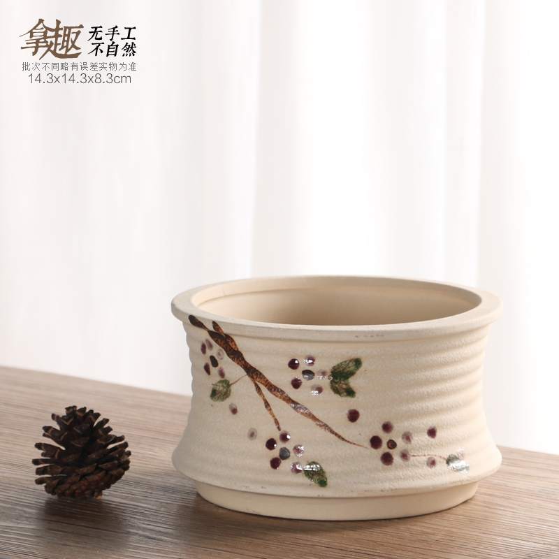 Painted ceramic flower pots succulents handmade stoneware large bowl creative chinese style retro
