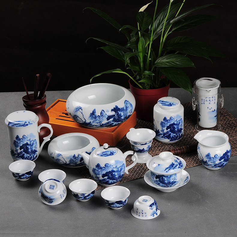 Painted eggshell upscale high white porcelain tea set jingdezhen ceramic tea set kung fu tea tea authentic free shipping