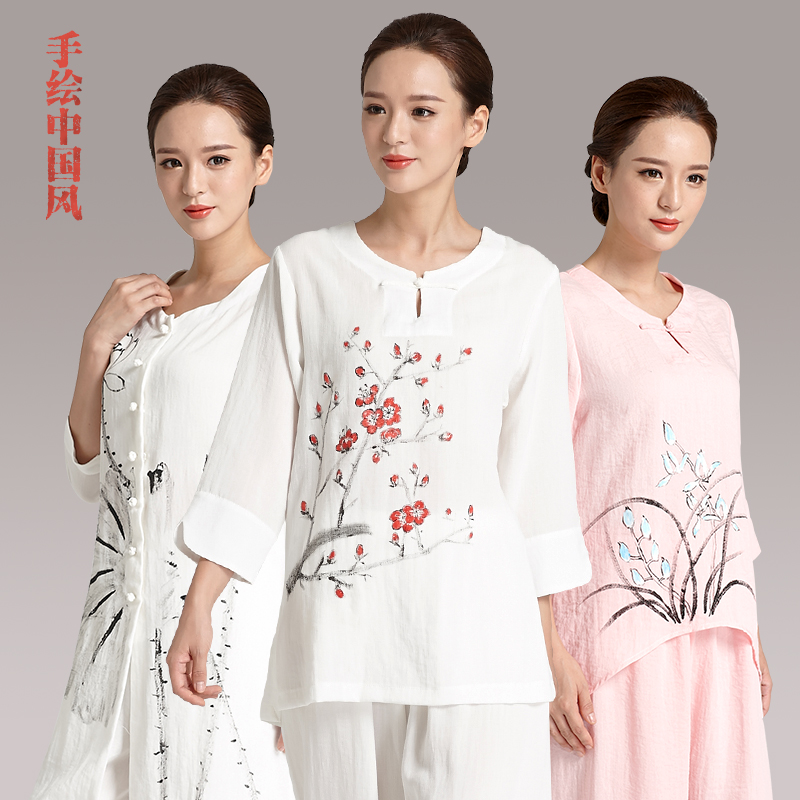 Painted upscale linen tai chi clothing tai chi clothing female clothes and tai chi clothing female