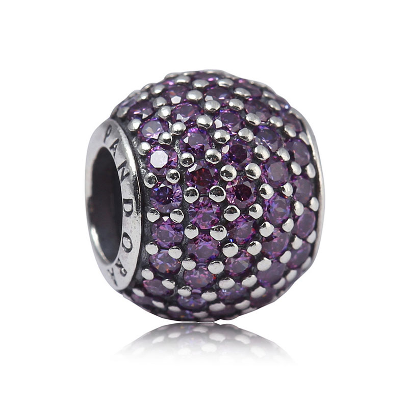 Pandora pandora silver inlay zircon pavé fantasy purple beads beaded bracelet beads 791051CFP