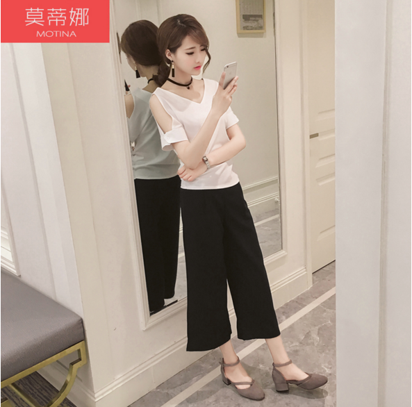 Pants waist wide leg pants pantyhose korean version of bigfoot pants wide leg pants casual seventh summer thin section loose tight