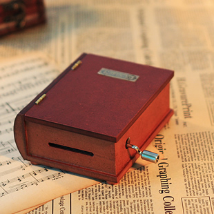 Paper tape cranked music box wooden music box vintage books diy creative birthday gift to send girls