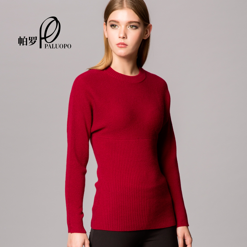 [Paragraph] mall with new winter women's round neck big end paro 100% sheep pure cashmere sweaters women