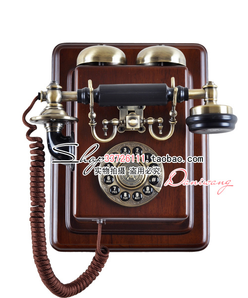 Paramount 1912 european antique wall wall end retro telephone landline home all solid wood frame