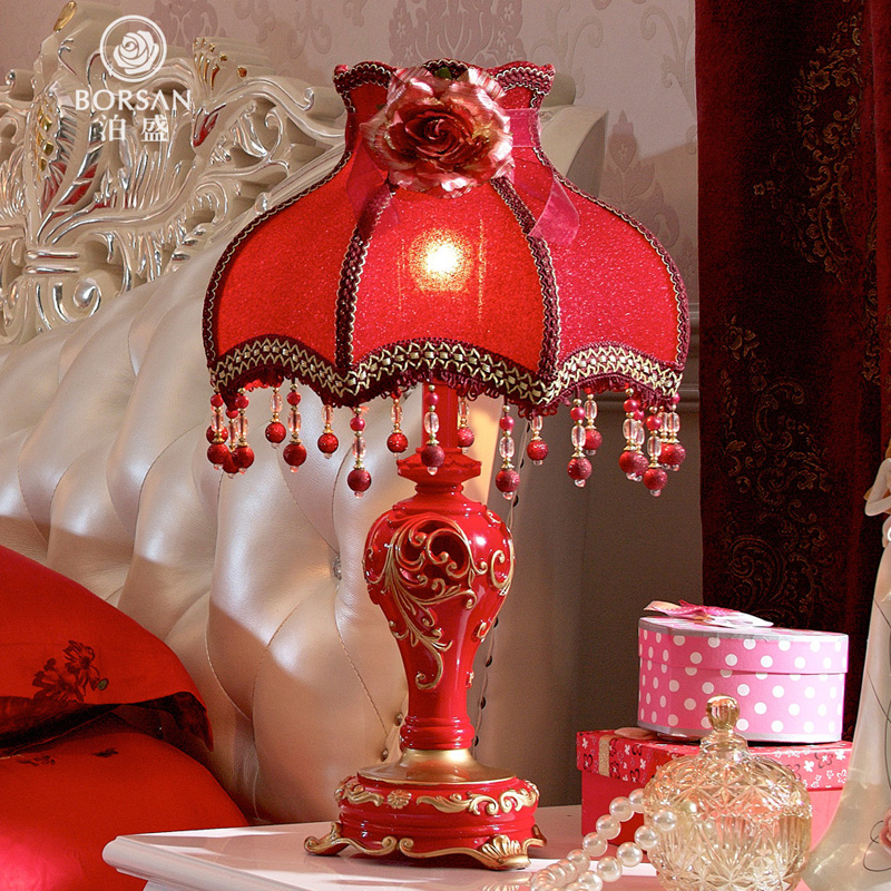 ... Park Sheng Luxury Gift Warm And Creative Wedding Table Lamp Bedroom  Bedside Lamp Dimmer European Red