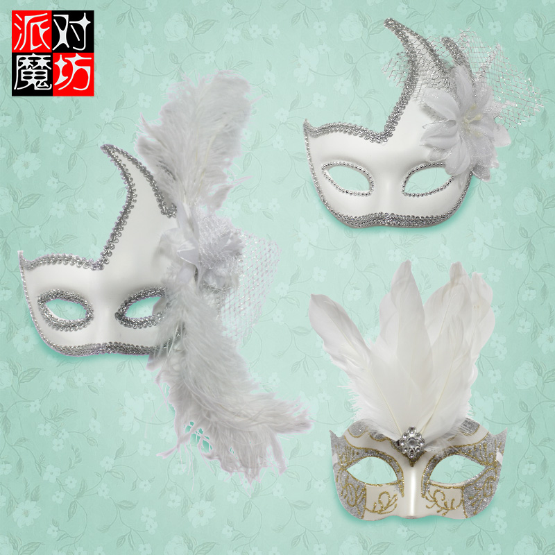 Party magic square halloween venetian masquerade party cos send one pair of feather mask half face beautiful princess lace