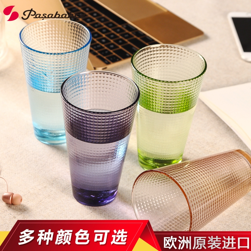 Pasabahce pasha imported unleaded colored glass cup creative pattern transparent glass cup heat home watercups