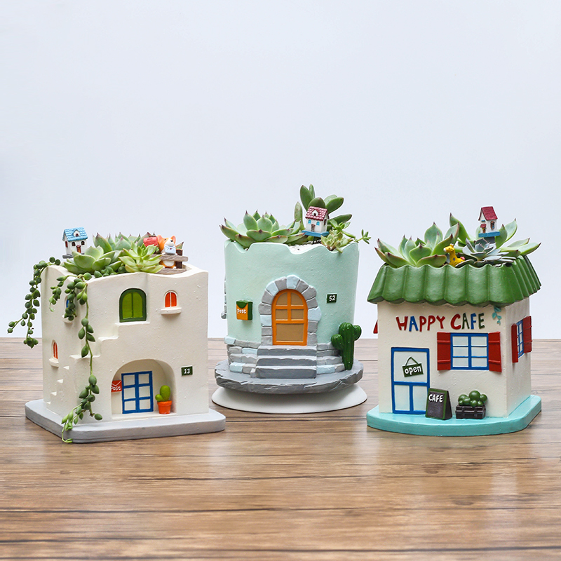 Pastoral creative retro cabin house more meat and more meat plant pots decorations personality fleshy micro landscape potted flower