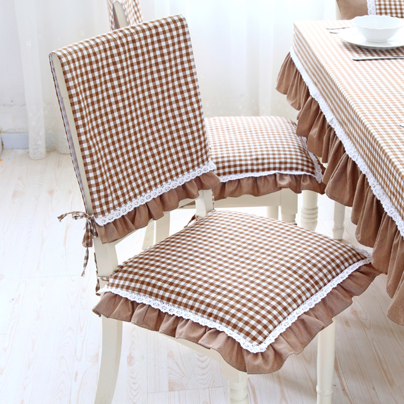 Get Quotations · Pastoral Style Lace Falbala Seat Cushion Dining Chair  Cushion Upholstery Coverings Coffee Lattice Grid Can Be