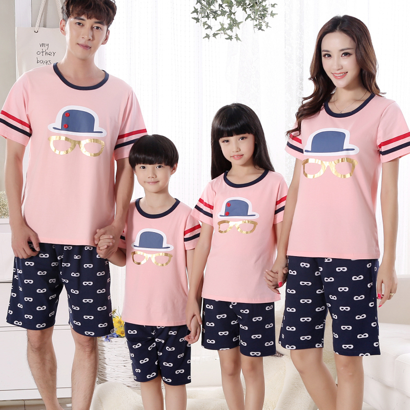 Paternity pajamas summer 2016 models a mother and three family pack short sleeve cotton summer suit tracksuit mother son