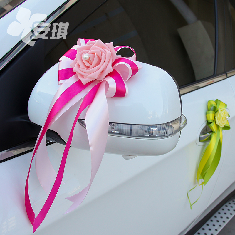 Pe roses exquisite multicolor beribboned after korean wedding wedding supplies wedding car door handles mirrors decorative embellishment ribbon