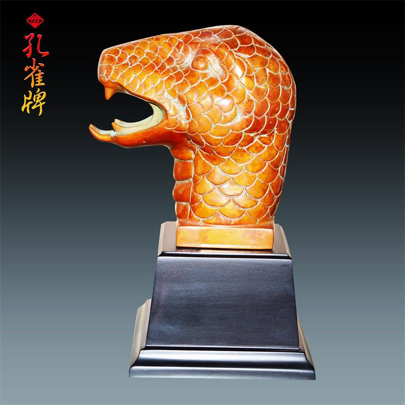 Peacock brand yunnan variegated copper metal crafts office feng shui bronze snake first variegated copper handmade