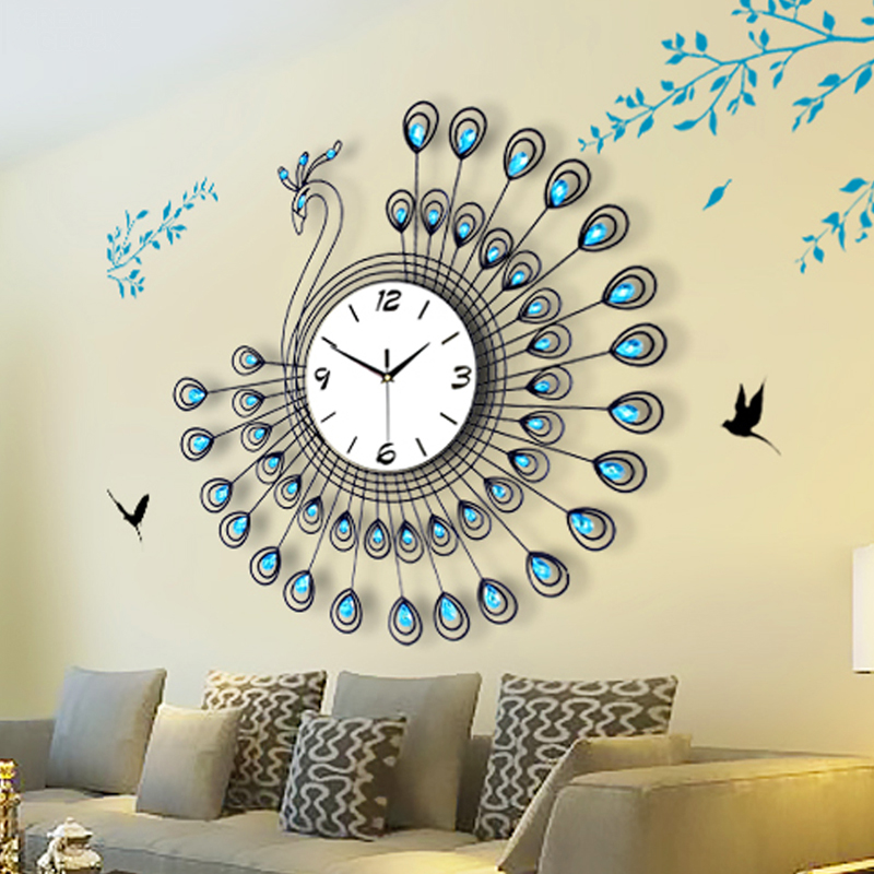 Buy Peacock Large Living Room Wall Clock Watch Creative Quartz European Modern Minimalist Charts Mute Luminous Personality In Cheap Price