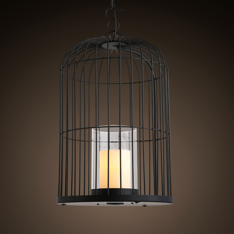 Pengda american creative personality lighting living room hotel restaurant cafe candle iron cage chandelier art retro
