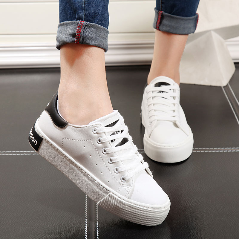 People fall within the white shoes female korean leather sports shoes canvas shoes thick crust muffin student shoes casual shoes women shoes