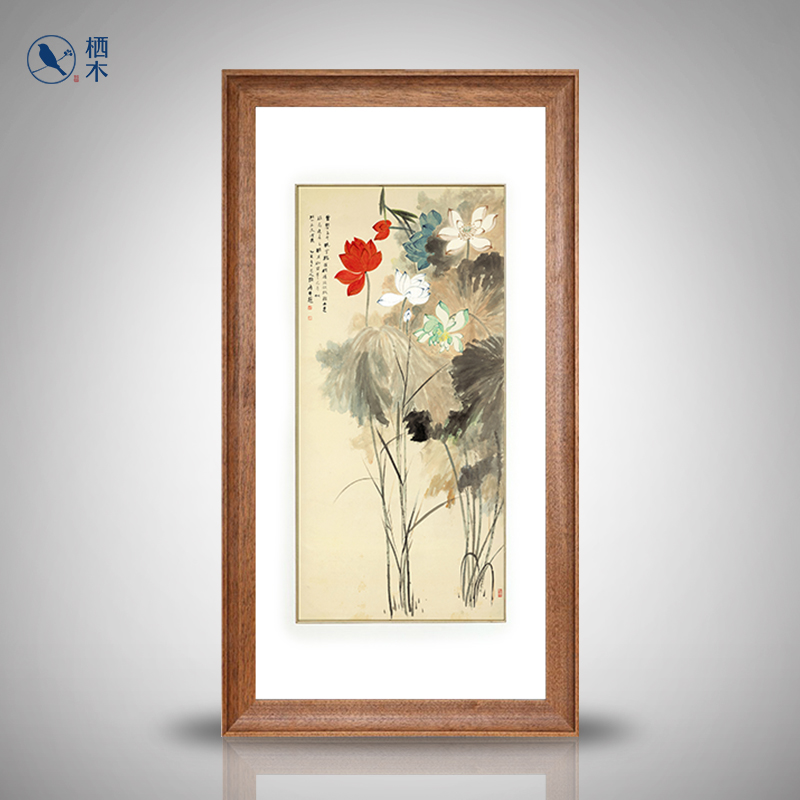 Perches prints new chinese paintings decorative painting vertical version entrance hallway corridor zhang daqian painting colored lotus