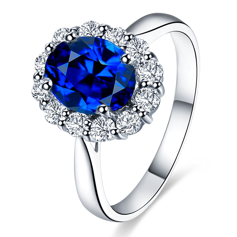 Philippine diamond sapphire diamond luxury classic diana paragraph 1.3 karat kt natural sapphire ring female