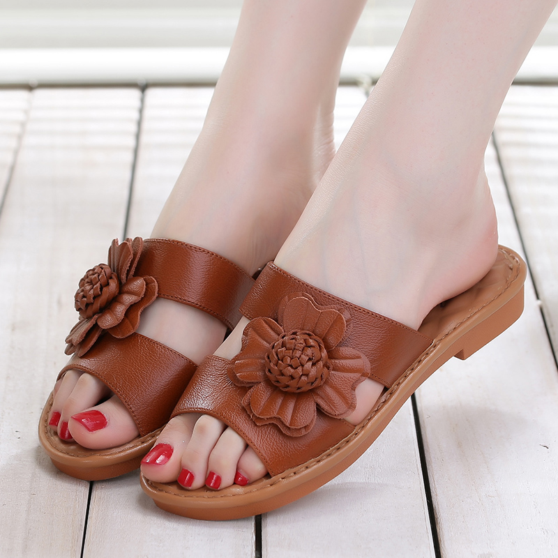 dbe6c7f9a5205 Get Quotations · Philippine girl 2016 summer new casual slip sandals and slippers  female flat with flat leather sandals