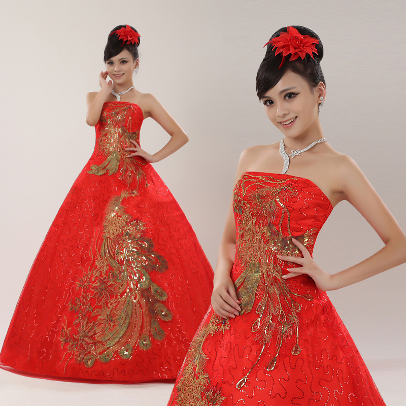 Phoenix bride lace wedding dress 2016 new red bra bride toast clothing bridesmaid dress long dress