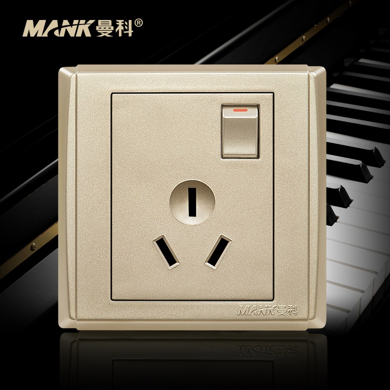 [Piano] manco switch socket with switch 10a three socket 86 type power outlet socket switch panel