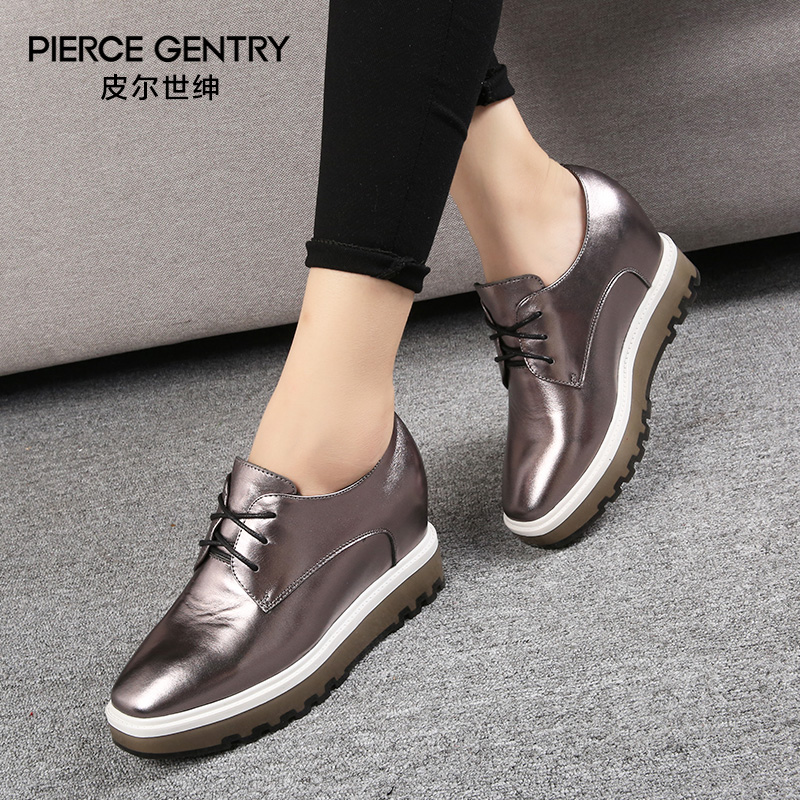 Pierre world gentry 2016 autumn new shoes thick crust increased within europe and leather shoes lace casual shoes