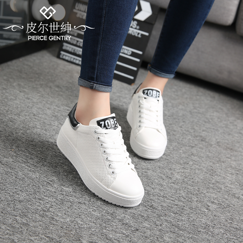 Pierre world gentry 2016 new shoes platform shoes loafers casual shoes white shoes leather flat shoes lazy students