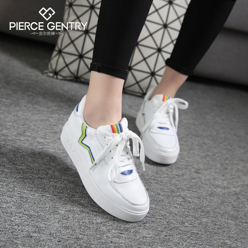 Pierre world gentry 2016 spring new white shoes women shoes thick crust leather casual shoes korean shoes lazy loafers shoes