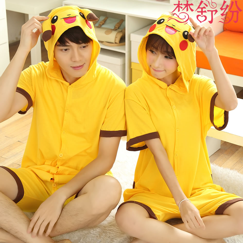 Pikachu piece pajamas female summer short sleeve spring and children cute cartoon animal lovers cotton men in spring and autumn