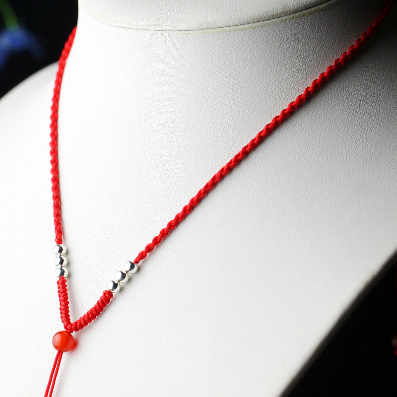 Pinjing kee gold emerald pendant jade pendant rope rope necklace men and women hand made 925 silver natal red string lanyard