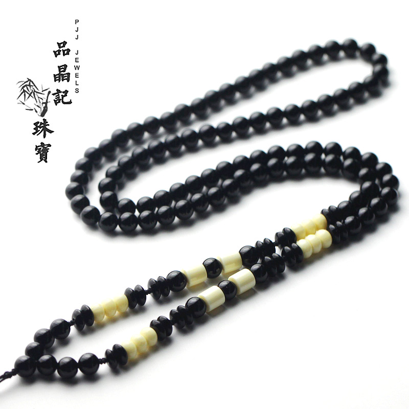 Pinjing kee men pure black onyx pendant necklace rope lanyard jade jade gold ivory fruit