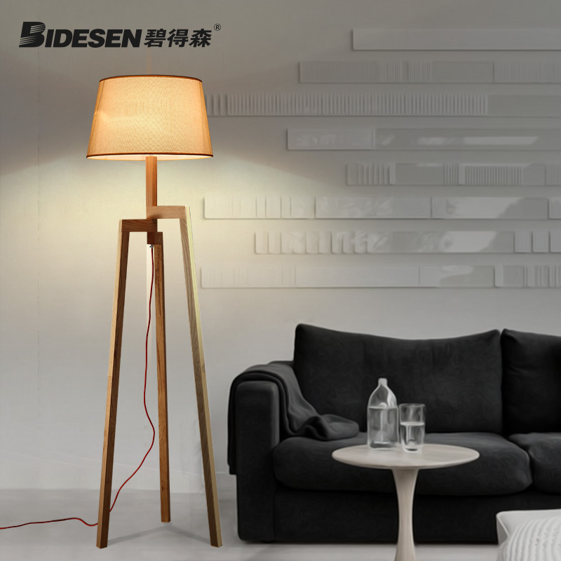 Pitt hudson nordic wood floor lamp living room bedroom creative tripod floor lamp modern minimalist study lamp straight