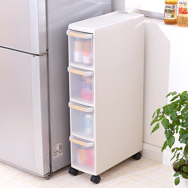 Plastic drawer storage cabinet with pulleys caught gap finishing cabinet lockers narrow cabinet snack kitchen shelf
