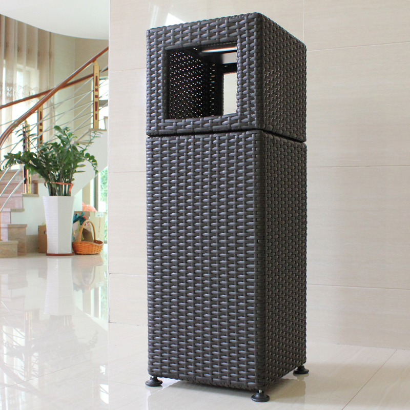 Plastic imitation rattan outdoor trash bins outdoor park district seat ashtray ash barrels hotel grand hall queen