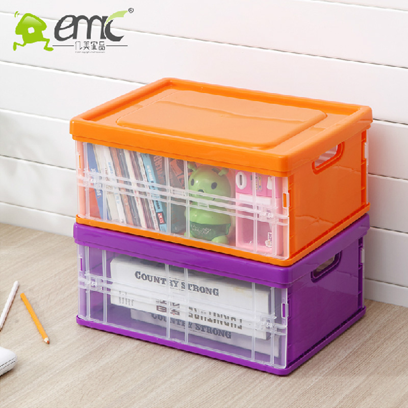 Plastic storage box plastic storage box folding clothes storage box toy storage box storage box medium plus thick genuine free shipping