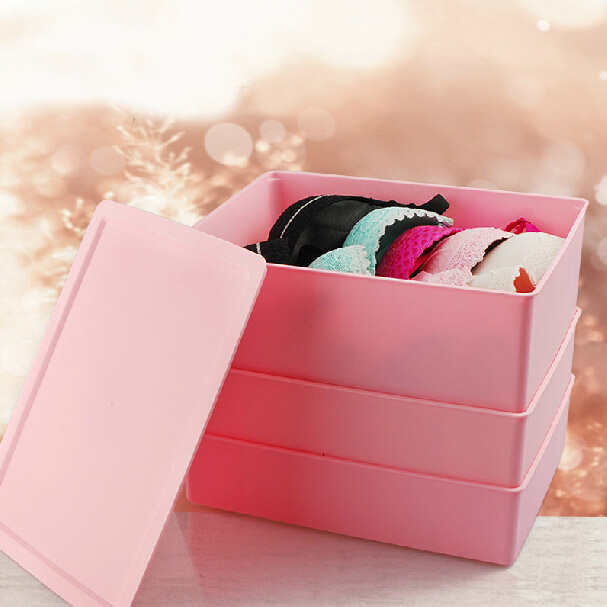 Plastic three sets of underwear storage box bra underwear socks storage box covered storage consolidation