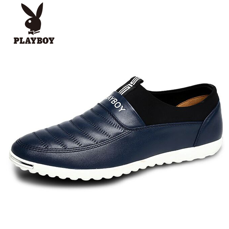 Playboy men's fall and winter trend men's casual shoes men leather soft leather lace casual shoes men british lun