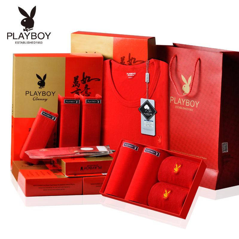 Playboy men's underwear sets natal female red socks red thin section warm cotton men qiuyiqiuku male