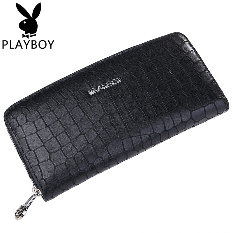 Playboy/playboy men's casual cow leather wallet men long wallet leather zipper clutch hand bag man