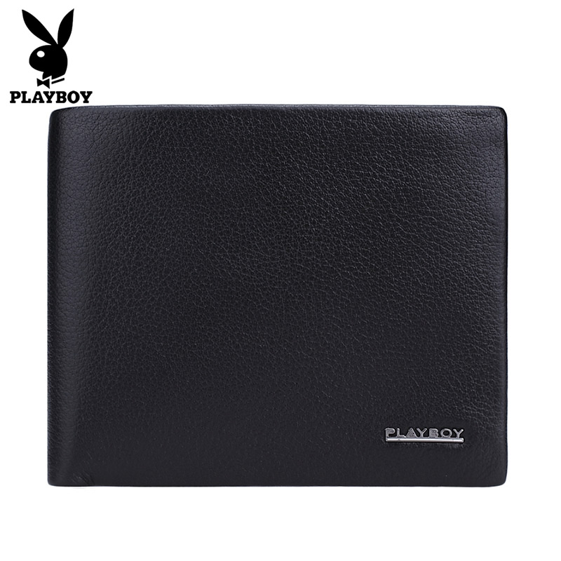 Playboy/playboy men's first layer of soft leather wallet men short wallet leather wallet cross section of commerce