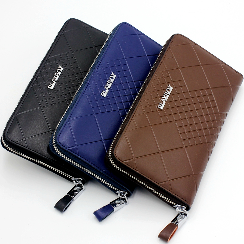 Playboy/playboy men's wallet men wallet large zip clutch wallet cow leather clutch bag men leather