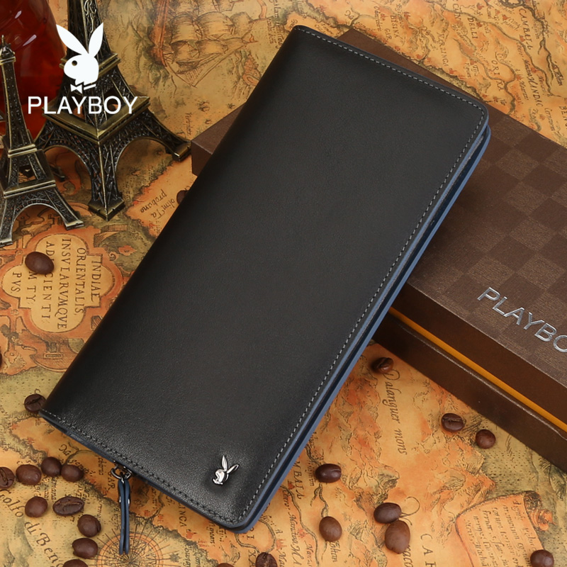 Playboy/playboy new men's first layer of soft leather wallet leather wallet long section of young men wallet wallet