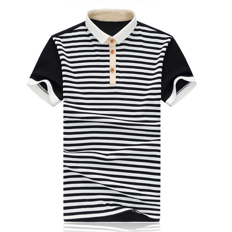 Plum rod section 2016 summer new large size men's lapel classic black and white striped stitching men's polo shirt