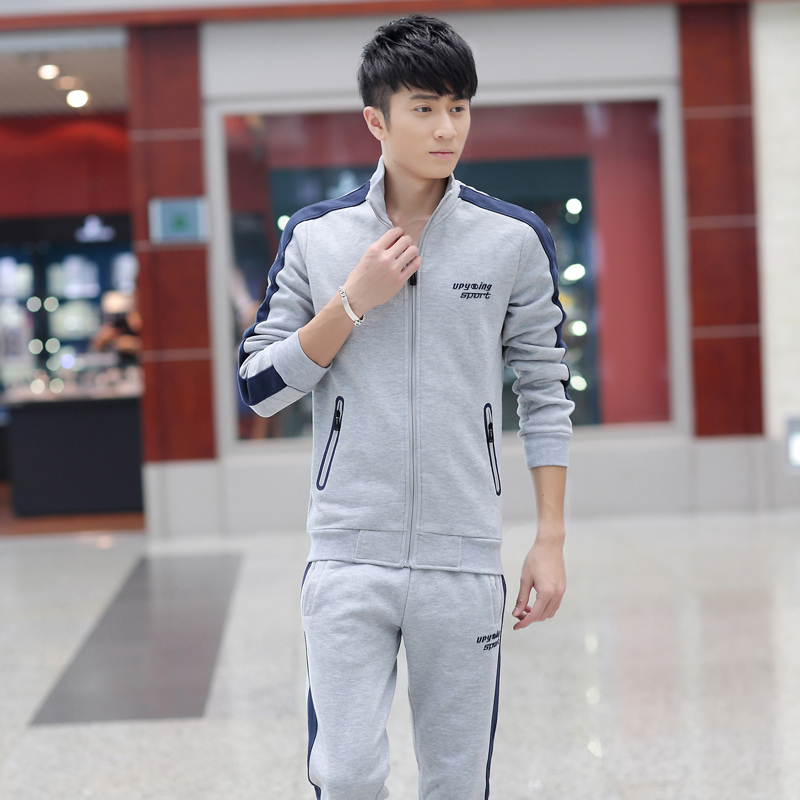 Plus thick velvet track suit male autumn and winter warm casual sports jogging suits long sleeve men's sports suit