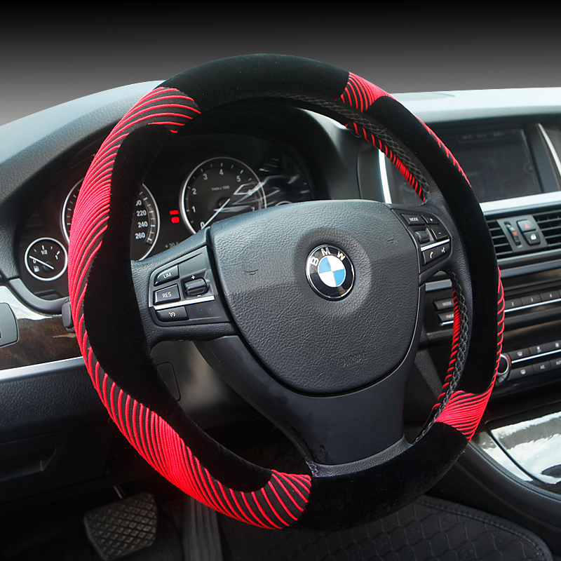 Plush steering wheel cover volkswagen new polo new jetta sagitar new bora new touran touareg lang winter car grips