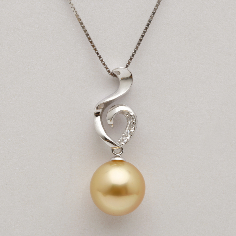 [Po] fran jewelry ripples south sea pearl pendant 925 silver diamond pendant gold pearl flawless perfect circle