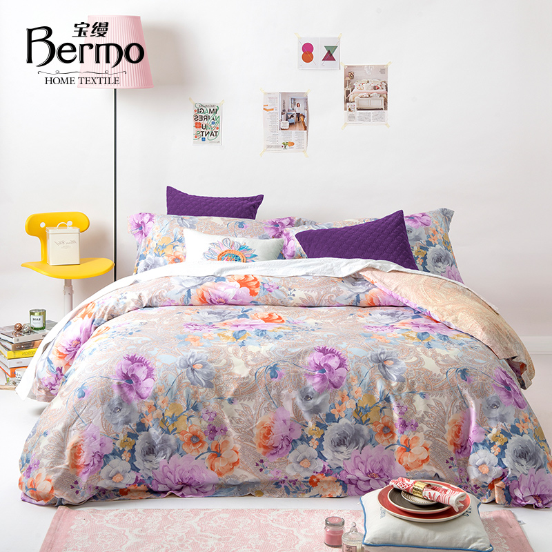 Po unadorned textile bedding denim cotton reactive printed cotton flower in spring and autumn style quilt