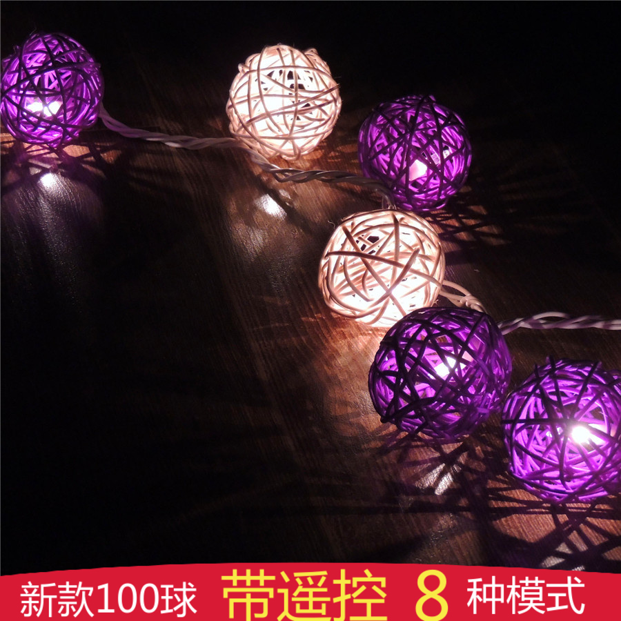 Poem maha thai sepak takraw romantic purple star lights led battery lights string lights christmas and new year wedding decorative lights